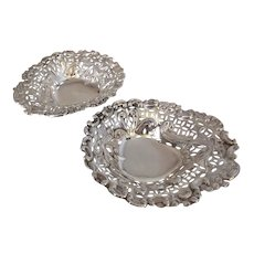 Pair Sterling Silver Heart Shaped BonBon Dishes Antique c1895.