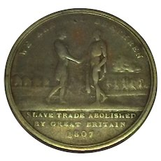 Medallion Celebrating The Abolition Of Slavery In Great Britain Antique 1807.