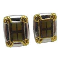 Enamel Cross Chrome Metal Cufflinks Vintage c1980.
