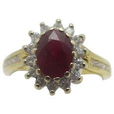Ruby Spinel & Diamond 18k Gold Ring Vintage English c1980