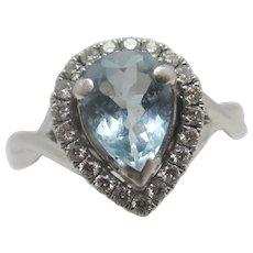 1.48ct Aquamarine & Diamond 18k White Gold Ring Vintage c1980