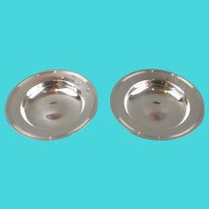 Pair Of Sterling Silver Pin Dishes Vintage London 1972
