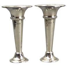 Pair Sterling Silver Flower Vases Vintage Birmingham c1976
