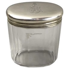 Oval Sterling Silver Top Cut Glass Dressing Table Pot London Antique Victorian c1888