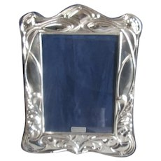 Sterling Silver Repousse Photo Frame Art Nouveau Style 21th Century