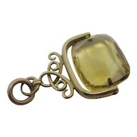 Citrine Flip Fob 9k Gold Pendant English Antique Edwardian 1914 by S Bros