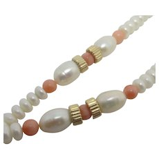 Pearl & Coral Bead Necklace 9k Gold Clasp Vintage c1990