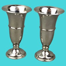 Bishtons Ltd Pair Sterling Silver Fluted Vases Vintage Mid Century Birmingham 1961