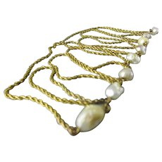 9k Gold & Seed Pearl Rope Chain Necklace Vintage c1970