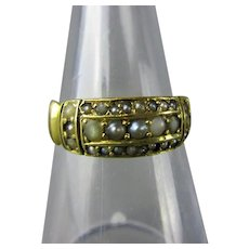 15k Gold White & Silver 27 Seed Pearl Ring Antique Victorian c1860