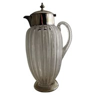 English Jewel Ware Glass Jug & Elkington Silver Plated Mount Late 19th Century