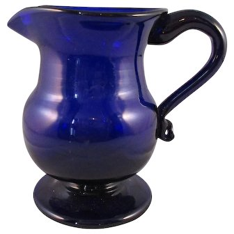 Bristol Blue Jug With Folded Foot Antique Georgian Late 18th Century.