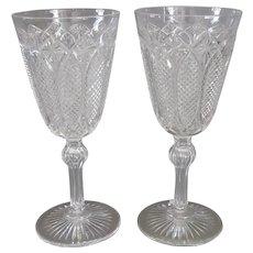 Pair Cut Glass Wine Goblets Fine Quality Antique c1850