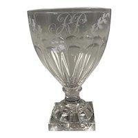 Single Glass Engraved Rummer Antique Georgian George III c1800