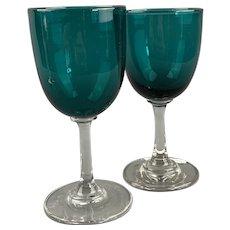 Pair Of Green Bowl Wine Glasses Antique Victorian c1890