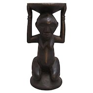 African Congolese Tribal Carved Wood Female Statue Figure From The Baluba Tribe Antique c.1910.