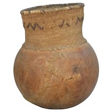 Tribal Gourd Pot With Lovely Old Repairs Date Unknown.