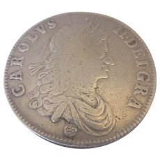 Charles II Silver Crown Coin Antique 17th Century Dated 1662.
