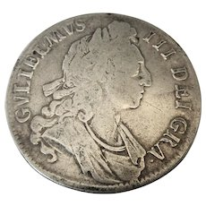 William III Crown Silver Coin Antique 17th Century Dated 1696.