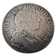 William III Half Crown Coin 1st Bust Issue Antique c1697