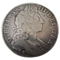 William III Half Crown Coin 1st Bust Issue Antique c1697
