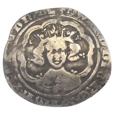Edward III Groat Coin Antique c. 1351-1361.