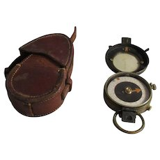 British Army Verner's Pattern World War 1 Officer's Compass With Original Leather Case Antique Dated 1917