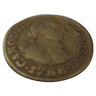 Carlos III Of Spain Gold Half Escudo is dated 1788.
