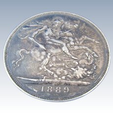 Crown Coin Victoria Jubilee Head Antique Dated 1889