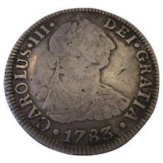 Silver Carolus III Two Reales Mexico 1783.