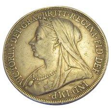 Queen Victoria Silver Crown LXIII Antique c1900.