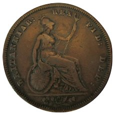 Antique William IV Bare Head Penny Coin c1831.