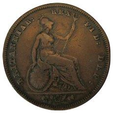 Antique William IV Bare Head Penny Coin c1831.