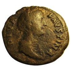 Roman Dupondius coin Diva Faustina Senior Antique A.D. 141.