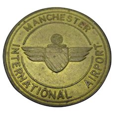 Airport token Manchester International Vintage 1975.