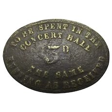 Rare Concert Hall Token Antique Birmingham c.1880.