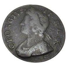 English George II Half Penny Antique 1735.