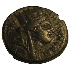 Ancient Syrian A19 Coin With Bust Of Tyche Antique 77 AD.