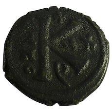 Half Follis Maurice Tiberius Antique Byzantine Empire Antique 582-602 AD.