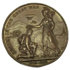 Military Lincoln Medal The Great War Antique 1914-1918.