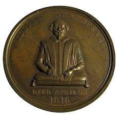 Bronze Medallion Celebrating William Shakespeare Antique 19th Century.