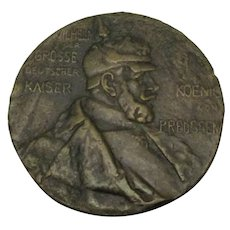 German Bronze Kaiser Wilhelm Memorial Medal Antique 1897.