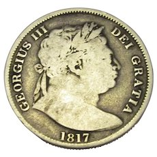 Bull Head Half Crown George III Antique 1817.