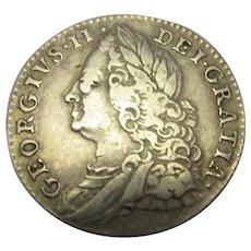 Sixpence George II Antique 1758.