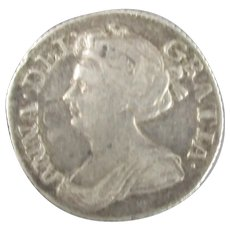 Queen Anne Of Great Britain And Ireland Sixpence 1711.