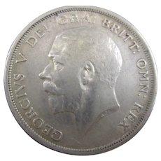 Sterling Silver King George V 1/2 Crown 1914.