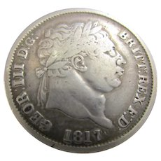 Sterling Silver King George III Shilling 1817.