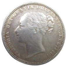 Sterling Silver Queen Victoria Shilling 1881.