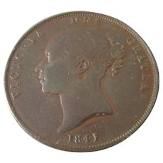 Copper Penny Victoria Antique 1841