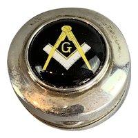 Sterling Silver Masonic Enamel Pill Box Vintage c1940
